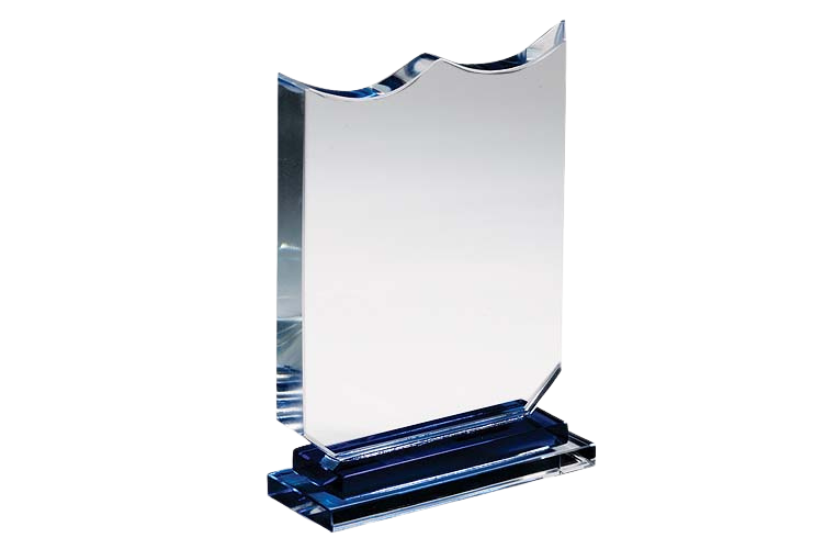 Wave Cut Clear Crystal Glass Plaque - CG1067