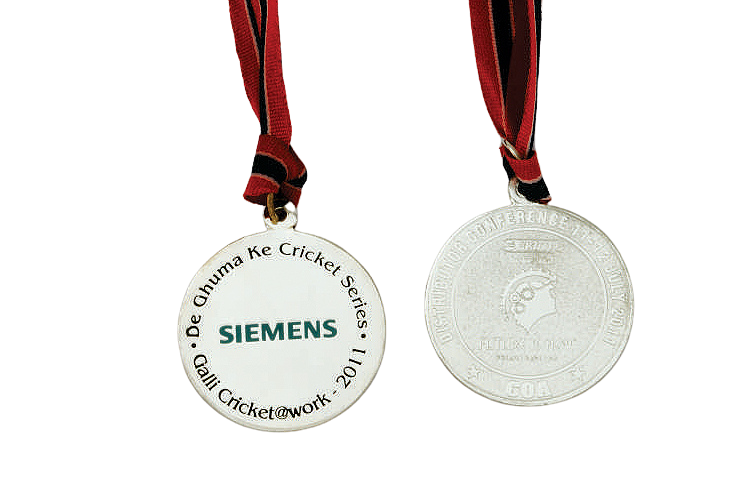 Sports Silver Medal Engraved with Text and Logo - MB4012
